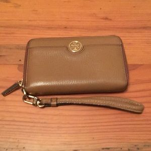 Tory Burch Wristlet Wallet Tan Gold Accents
